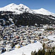Davos Platz Mountains Parsenn And Town Art Print by Andy Smy
