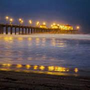 Dawn At Huntington Beach Pier By Denise Dube Art Print