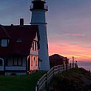 Dawn At Portland Lighthouse Art Print