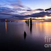 Dawn Breaks Over The Pier Art Print