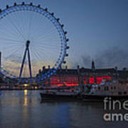 Dawn Light At The London Eye Art Print by Donald Davis