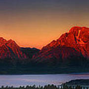 Dawn Light On The Tetons Grant Tetons National Park Wyoming Art Print
