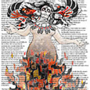 Day Of The Dead Gaia In Flames With Text Illustration Print Art Print