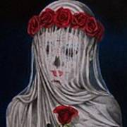 Day Of The Dead Veiled Bride Art Print