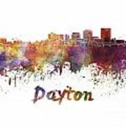 Dayton Skyline In Watercolor Art Print