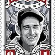Dcla Ted Williams Fenway's Finest Stamp Art Art Print by David Cook Los Angeles