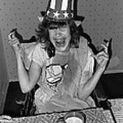 Debbie C. Celebrating July 4th Lincoln Gardens Tucson Arizona 1990 Art Print