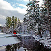 December Afternoon At The Red Boathouse Art Print