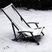 Deck Chair Under The Snow Art Print