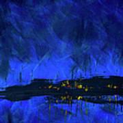 Deep Blue Triptych 2 Of 3 Art Print