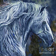 Deep Blue Wild Horse Art Print