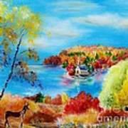 Deer And Country Church Autumn Scene Art Print