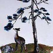 Deer And Pine Art Print