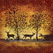 Deer At Sunset On Damask Art Print