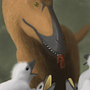 Deinonychus Dinosaur Feeding Its Young Print by Michele Dessi