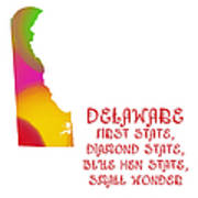 Delaware State Map Collection 2 Art Print