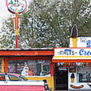 Delgadillo's Snow Cap Drive-in On Route 66 Panoramic Art Print