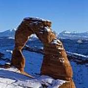 Delicate Arch In Snow Arches National Park Utah Art Print