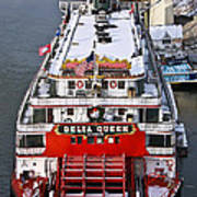 Delta Queen In Christmas Snow Print by Tom and Pat Cory
