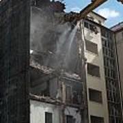 Demolition Cranes Dismantling A Building Art Print