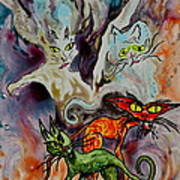 Demon Cats Haunted Art Print