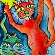 Demon Cats Reach Art Print