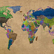 Denim Map Of The World Jeans Texture On Worn Canvas Paper Art Print