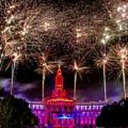 Denver Co 4th Of July Fireworks Art Print by Teri Virbickis