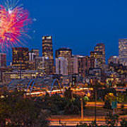 Denver Skyline Fireworks Art Print