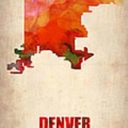 Denver Watercolor Map Print by Naxart Studio