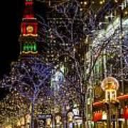 Denver's 16th Street Mall During Holidays Art Print