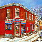Depanneur Surplus De Pain Point St Charles Montreal Winterscene Paintings Cspandau Originals Prints  Art Print