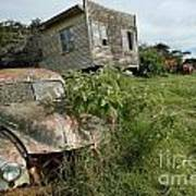 Derelict Morris And Old Truck On An Abandoned Farm Art Print