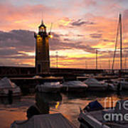 Desenzano Del Garda Marina Old Lighthouse Sunrise Art Print