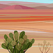 Desert, Cactus Brush, Mountains In Art Print