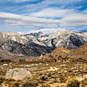Desert View Of Majestic Mount Whitney Mountain Peaks With Clouds Art Print