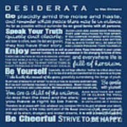 Desiderata - Blue Art Print