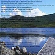 Desiderata On Pond Scene With Mountains Art Print