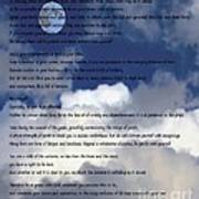 Desiderata On Sky Scene With Full Moon And Clouds Art Print