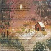 Desiderata On Snow Scene With Cabin Art Print