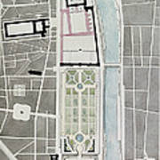 Design For Joining The Tuileries To The Louvre, 1808 Wc On Paper Art Print