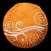 Designer Orange Baseball Square Art Print