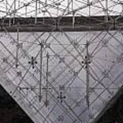 Detail Of Pei Pyramid At Louvre Paris France Art Print