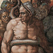 Detail Of The Last Judgment Art Print by Michelangelo