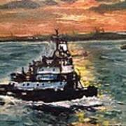 Detail Of Tugboat In Upper New York Bay  Art Print