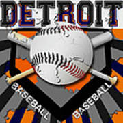 Detroit Baseball  Art Print by David G Paul