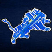 Detroit Lions Football Team Retro Logo License Plate Art Print by Design Turnpike