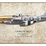 Detroit Miss P-51d Mustang - Map Background Art Print