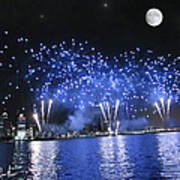 Detroit River Fireworks Print by Michael Rucker