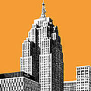 Detroit Skyline 2 - Orange Art Print